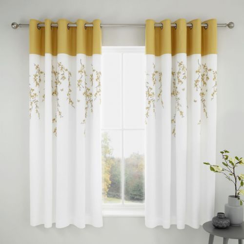 Catherine Lansfield Embroidered Blossom White Ochre Eyelet Curtains